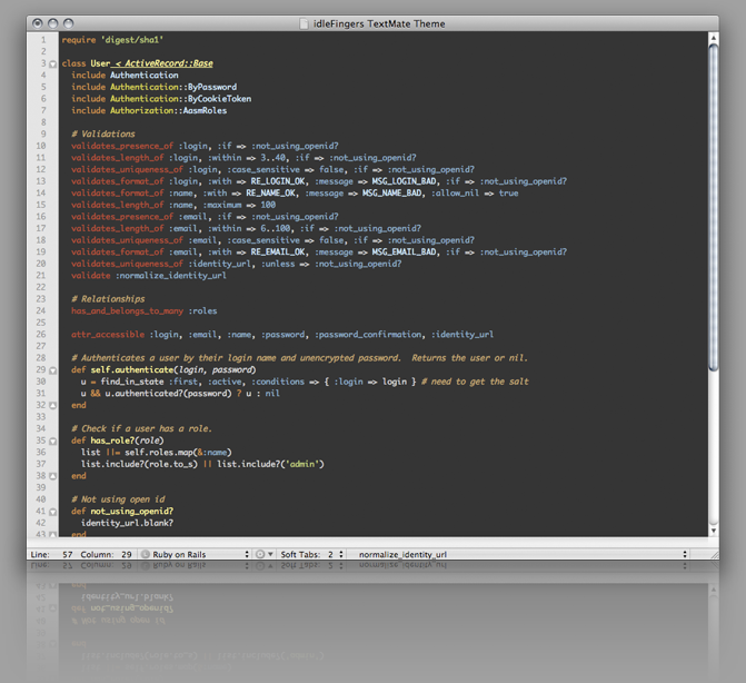 idleFingers TextMate Theme Preview